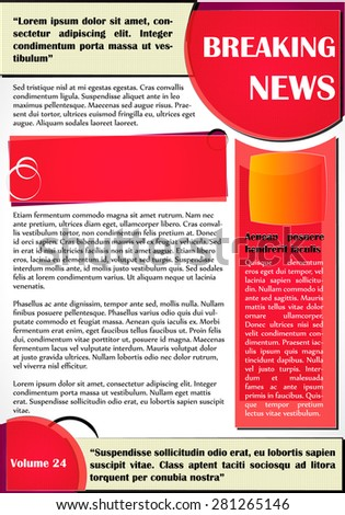 Newsletter or website template design. Can be used in business and non-profit organizations. Colorful illustration.