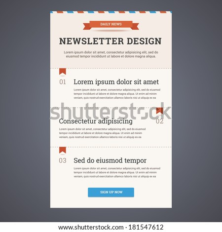 newsletter template design sign button vector stock vector royalty