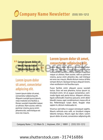 Newsletter template with box, quote, and copy - stock vector