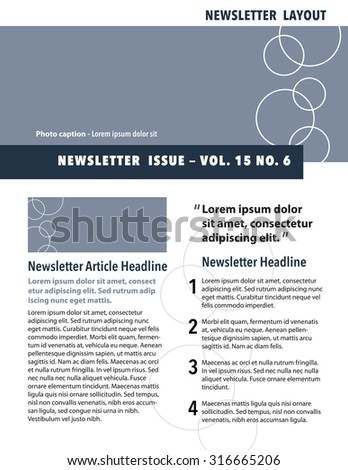 Newsletter template with circles, quote, and numbered list - stock vector