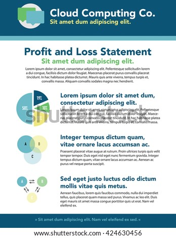 Newsletter with copy, headline, and diagram - stock vector