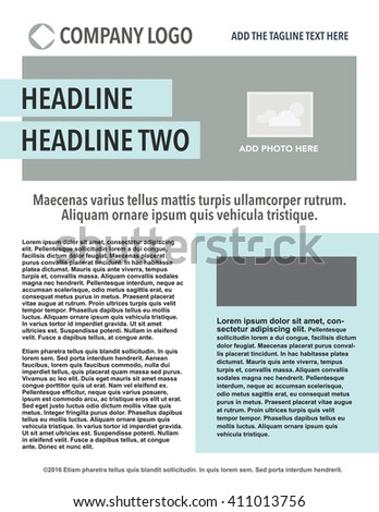 Newsletter with headline, logo, copy and picture box