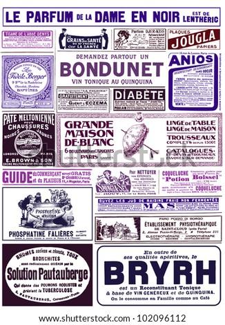 Newspaper ads - vintage engraved illustration - French Newspaper - Paris 1910 - stock vector