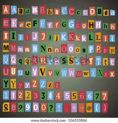 Newspaper alphabet with letters, numbers and symbols.
