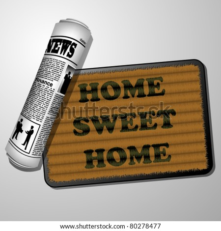 Newspaper and doorstep - home sweet home - stock vector