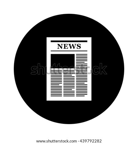 Newspaper circle icon. Black round icon isolated on white background. Newspaper simple silhouette. Web site page and mobile app design vector element.