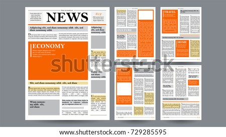 newspaper design template vector financial articles stock vector 729285595 shutterstock. Black Bedroom Furniture Sets. Home Design Ideas