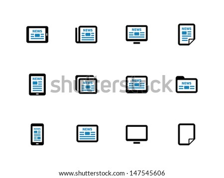 Newspaper duotone icons. Vector illustration. - stock vector
