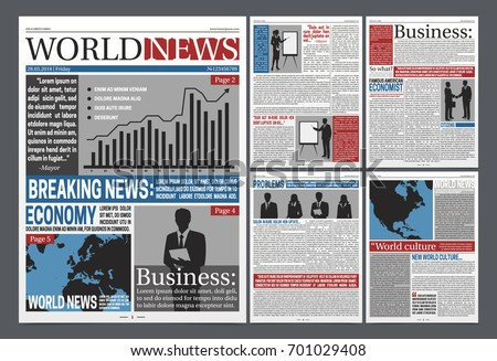 Newspaper Economy Pages Realistic Template Design Stock Vector