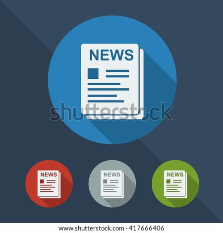 Newspaper flat icon in different colors. - stock vector