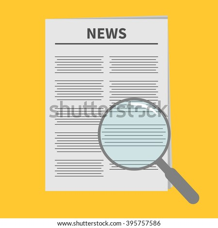 Newspaper icon Optic glass instrument Magnifier Search Flat design Isolated Yellow background Vector illustration - stock vector