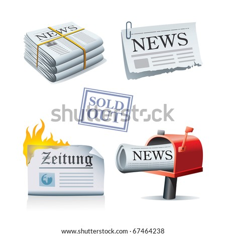 Newspaper icon set - stock vector