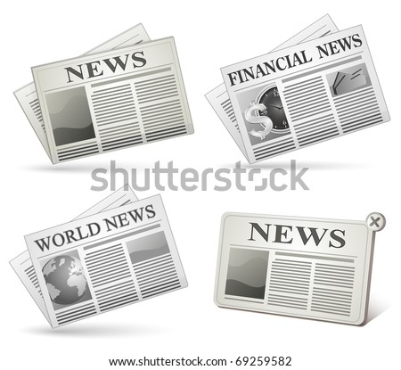 Newspaper icon set. Vector illustrations of newspaper. - stock vector