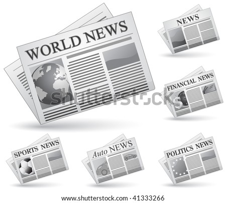 Newspaper icon set. Vector illustrations of newspaper. News concept. - stock vector