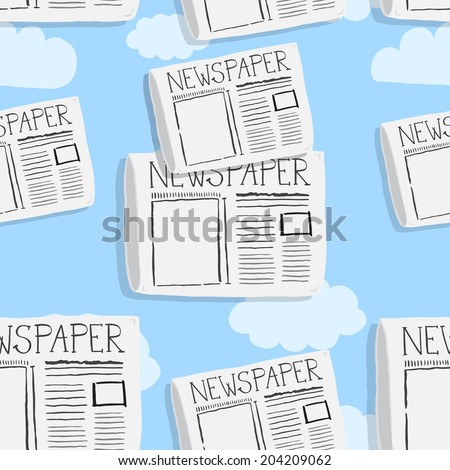 Newspaper illustration pattern - stock vector