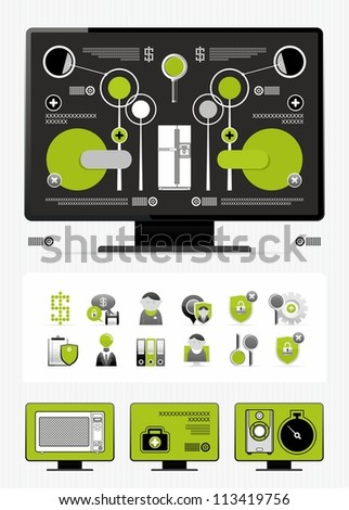 newspaper infographics and icons - stock vector