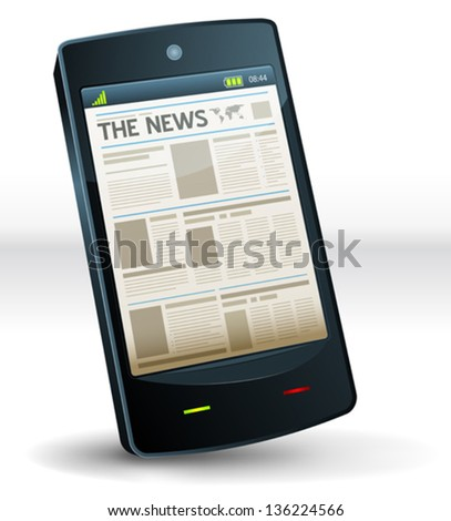 Newspaper Inside Pocket Mobile Phone/ Illustration of a newspaper page screen on a mobile pocket smart phone computer device. Imaginary model not made from any existing brand or copyrighted model