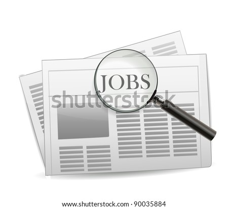 Newspaper Jobs Isolated on White - stock vector