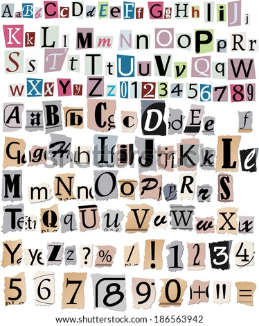 Colorful Alphabet Letters Torn Newspapers Magazines Stock