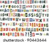 Newspaper letters, numbers and punctuation marks, vector illustration - stock vector