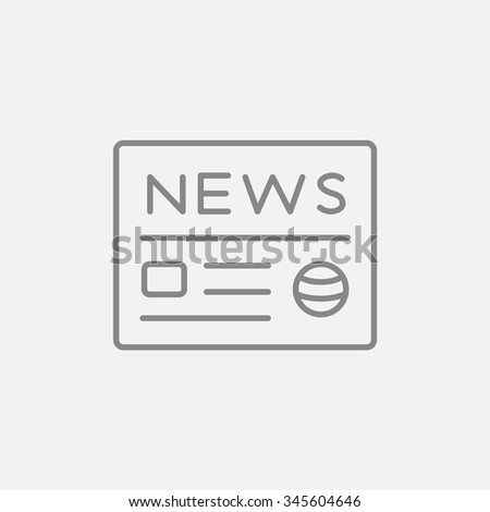 Newspaper line icon for web, mobile and infographics. Vector dark grey icon isolated on light grey background. - stock vector
