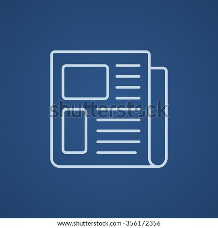 Newspaper line icon for web, mobile and infographics. Vector light blue icon isolated on blue background. - stock vector