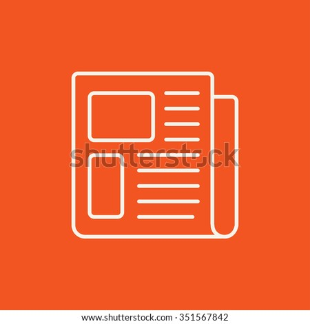 Newspaper line icon for web, mobile and infographics. Vector white icon isolated on red background. - stock vector