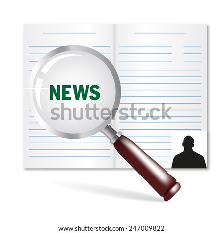Newspaper, news search, a vector on a white background