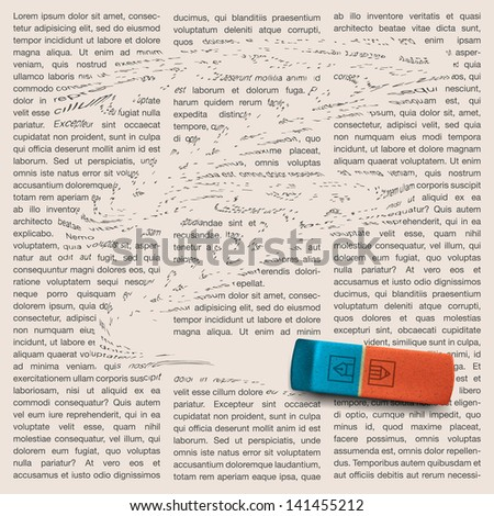 Newspaper page with eraser of erasing news, vector image. - stock vector