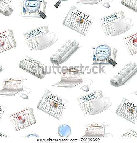 Newspaper, seamless pattern - stock vector