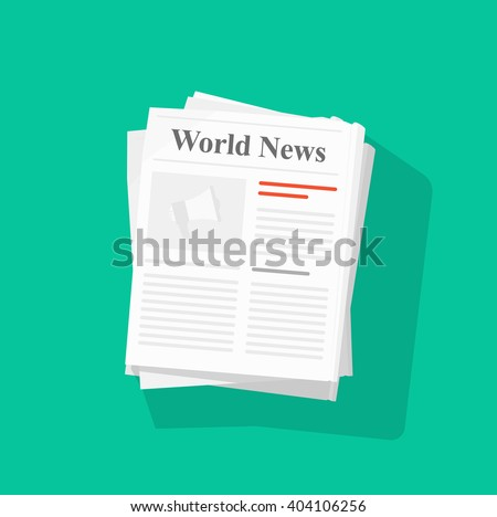 Newspaper stack vector illustration, news paper pile front page top view abstract text articles and headlines, world news, daily paper rolled, journal heap, magazine flat icon design isolated on green
