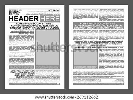 Newspaper Style Flyer Template Stock Vector (2018) 269112662 ...