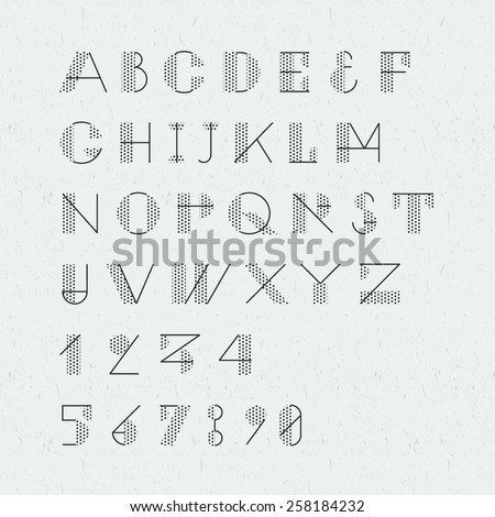 Newspaper style trendy geometric font. High quality vector design element. - stock vector