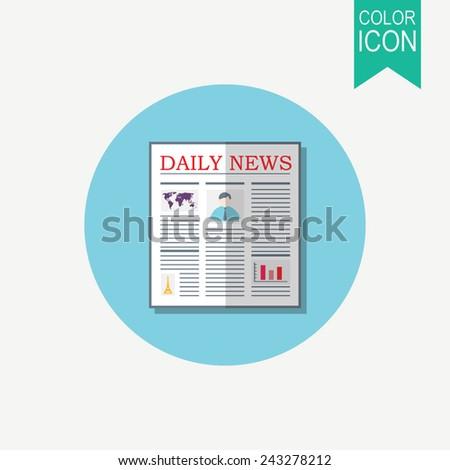Newspaper vector icon. Flat design - stock vector