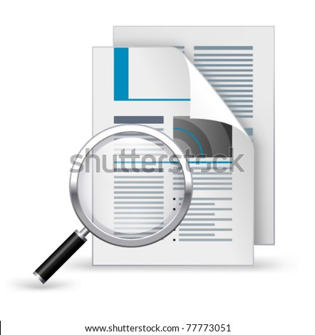 Newspaper with magnifying glass on a white background - stock vector