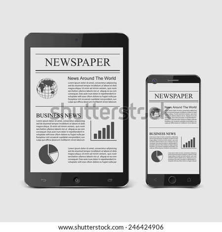 Newspaper with smart phone.vector