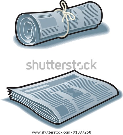 Newspapers rolled up with string and flat.