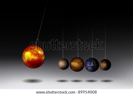 Newton's Cradle adaptation to Solar System - stock vector