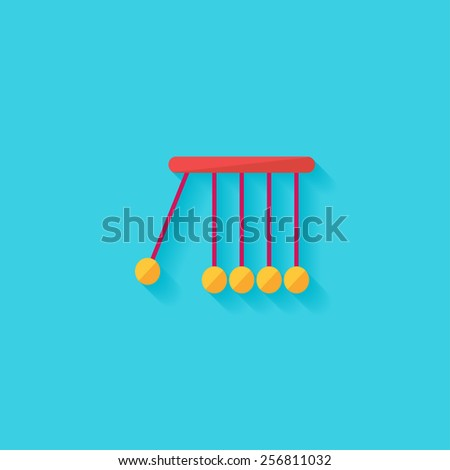 Newton's cradle flat icon. Modern flat icons vector collection with long shadow effect in stylish colors of web design objects. Trendy Flat Style. Isolated on blue background. Flat design. EPS 10. - stock vector
