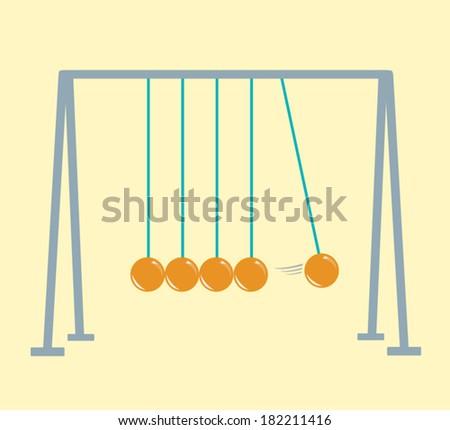 Newton's Cradle flat vector illustration. EPS10 version. - stock vector