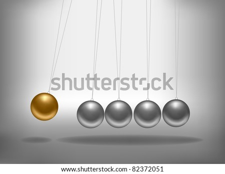 Newton's cradle with a gold sphere. Concept of teamwork. Vector illustration. - stock vector