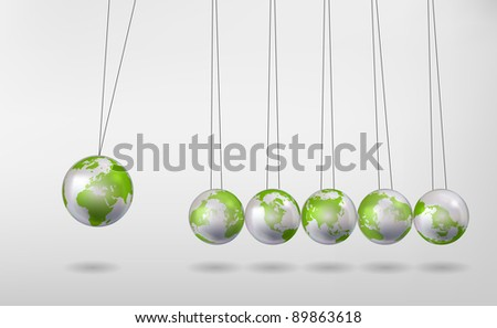 Newton's Cradle with Earth Globes - stock vector