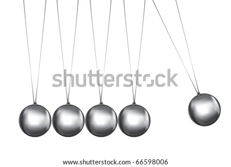 newtons cradle silver balls viewed from the front - stock vector