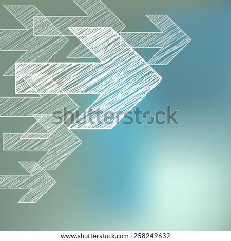 Next white arrows scribble symbols in corner on bokeh background  - stock vector