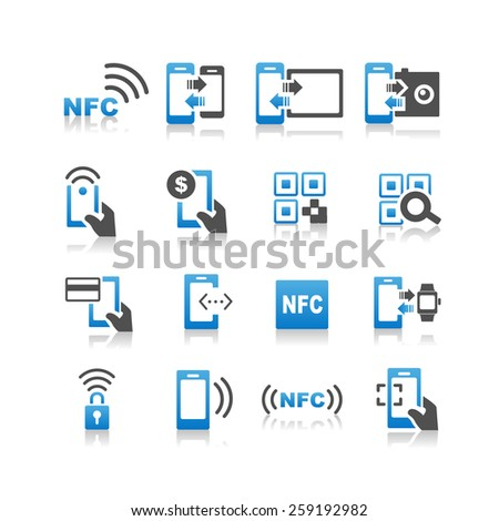 NFC technolgy icon set - Simplicity Series - stock vector