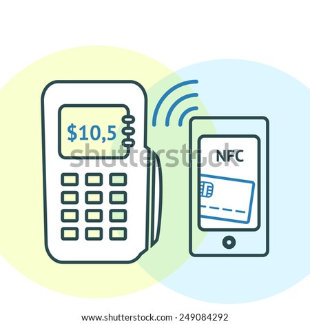 NFC technology concept. Smartphone with credit card on its screen and POS-terminal, processing of mobile payments. Vector illustration isolated on white background. - stock vector