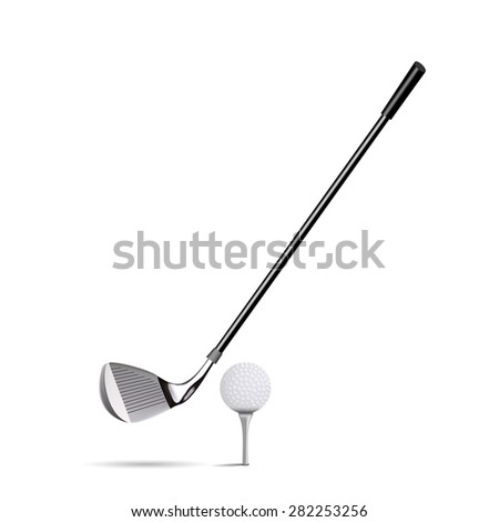 Niblick and golf ball on white background - stock vector