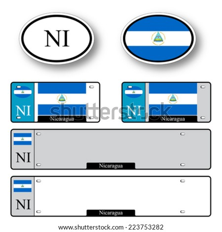 nicaragua auto set against white background, abstract vector art illustration, image contains transparency - stock vector