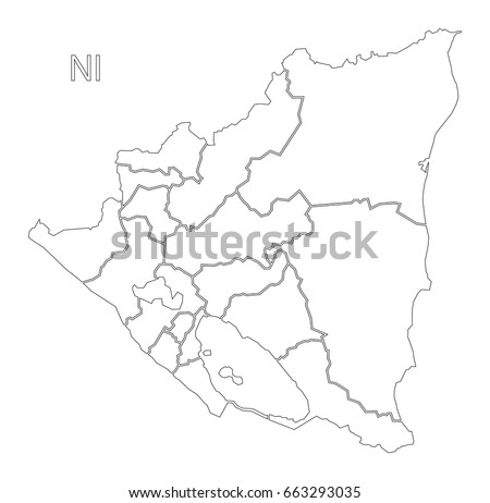 Nicaragua Regions Outline Silhouette Map Illustration Stock Vector