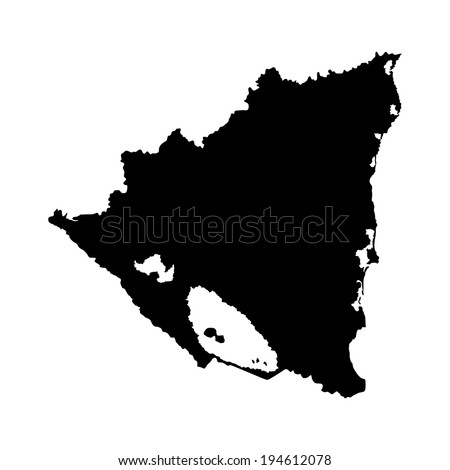 Stock Vector Nicaragua Vector Map Silhouette Isolated On White Background High Detailed Illustration